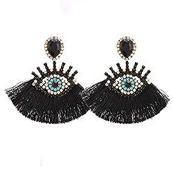 Black Geometric Fringed Multicolor Drop Earring With Rhinestones