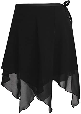 ACSUSS Women Adult Chiffon Ballet Wrap Over Scarf Dance Skirt with Tie Waist Asymmetric Black product image