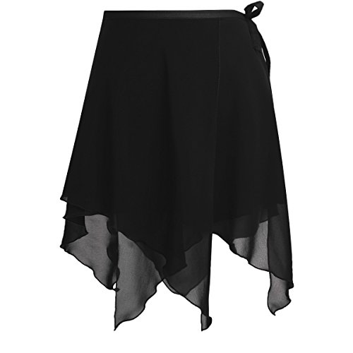 YiZYiF Damen Ballettrock Tanz Rock aus Chiffon Latein Cha Cha Rumba Wickelrock Unregelmäßige Rock Tanz Kostüm Mini Unterrock Schwarz One Size