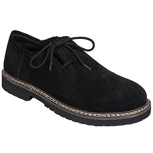 Gesteiner Leather Haferlschuhe Trachtenschuhe Herren Trachten Lederschuhe Schuhe aus Wildleder Trachtenschuhe für Trachtenhose Braun mit seitl. Schnürung in Größen und Farben (47 EU, Schwarz)