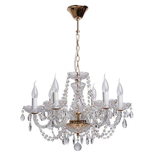 MW-Light 367012606 Lámpara Colgante, de Araña, de Latón, Dorada, Plafones en Forma de Velas, Cristales Transparentes, Gotas de Cristal, Para Sala, Salón, Dormitorio, 6 x 60W E14