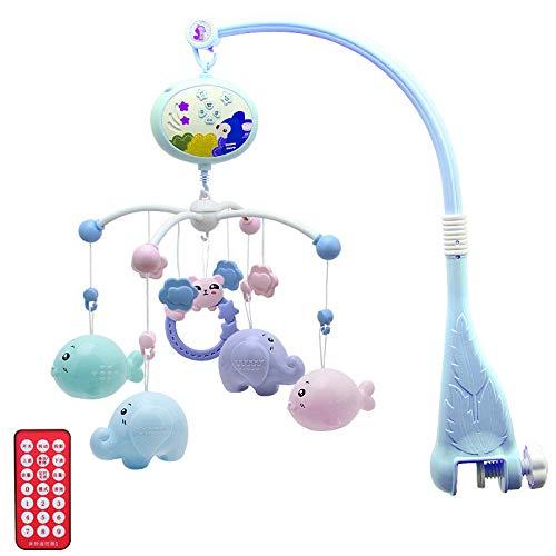 Onlyonehere Musik Mobile Baby-Baby Einschlafhilfe Nachtlicht und Projektor-Spieluhr Baby-Babybett Spielzeug Mit- Befestigung Mobile Baby Musik-Baby Toys 0-6 Months (Hellblau)