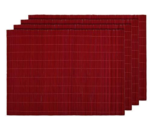 Alsino Tischset Platzmatten Platzset Unterlage Esstisch Sets Abwaschbar Home Dekoration aus Umweltfreundlichem Bambus 30 x 40 cm (4 Stück), Dunkelrot