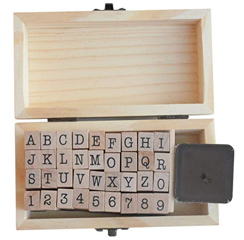 Yansanido 36pcs/Set Mini Small Wooden Box Multipurpose 0.2'' / 5mm Number A-Z Alphabet Letter Wood Rubber Stamp (36pcs Number and Alphabet)