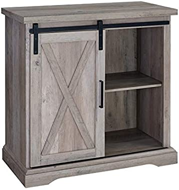 "Pemberly Row 32"" Farmhouse Sliding Barn Door Wood Accent Chest Home Coffee Station Buffet Storage Cabinet in Gray Wash"