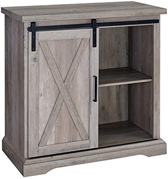 Pemberly Row 32 Sliding Door TV Stand Console In Rustic Gray Barnwood