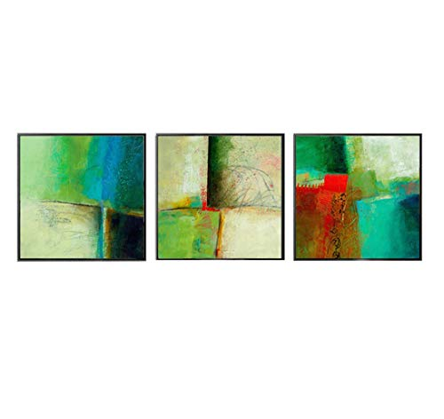 MBQ 3 Pieces Abstract Canvas Modern Painting Graffiti Wall Paintings Bright Wall Decoration Print, A