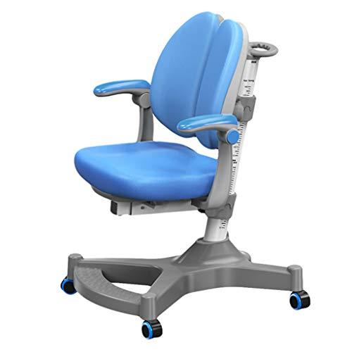 Yjie bureaustoelen voor kinderen tieners, verstelbare hoogte zitting, ergonomische juiste houding kinderen computerstoel zwaartekracht zelfvergrendelende wielen, blauw