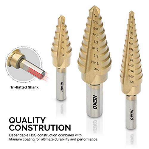 Neiko 10193A Titanium Step Drill Bit Set, High Speed Steel | 3-Piece Set | Total 28 Sizes