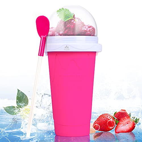 Ansamly Slushy Maker Cup,TIK TOK Magic Quick Frozen Smoothies Cups for kids,Ice Cream Maker Cup with Travel Easy-carry,Slushies and Homemade Milk shake in Minutes,Pink