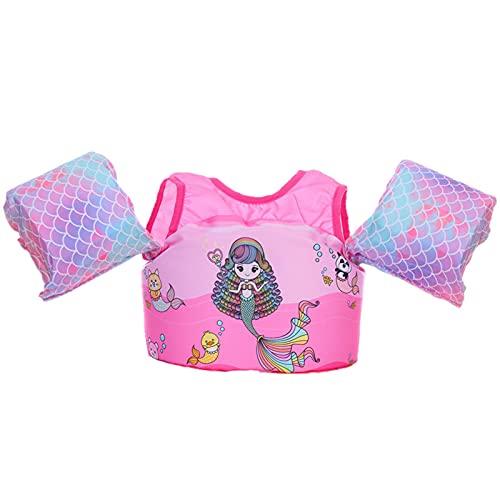 Yeah-hhi Kinderschwimmweste Badeanzug Babyschwimmen-Hilfe Schwimmenassistent Mit Schultergurt Und Armflügel Für 2-6 Jahre Alt, 30-55 Pfund,Rosa,S