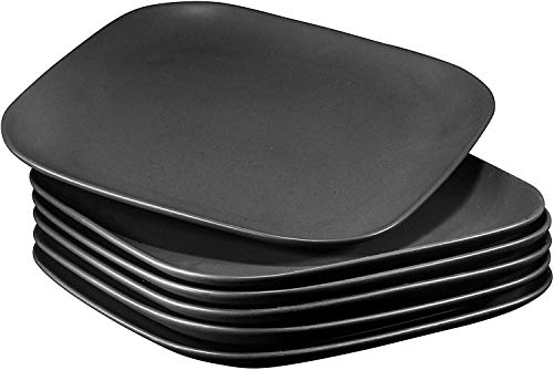 10' Square Ceramic Buffet Restaurant Dinner Plates, Stackable Set of 6, Black, Chip Resistant