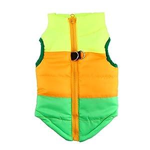 Idepet (TM) Manteau pour chien ou chat avec attache pour laisse Patchwork rembourré XS, S, M, L
