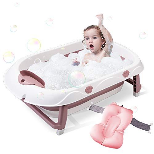 Bañera de bebé plegable Bañera portátil para bebés y niños pequeños para niños de 0 a 12 años Antideslizante Plegable Soporte de baño de lavabo para recién nacidos con taza (Morada, medio)