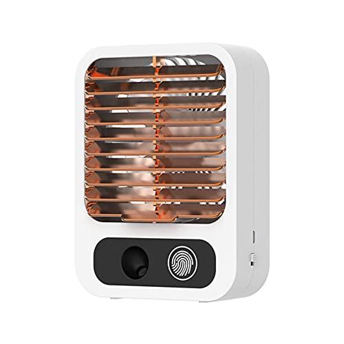 QNDYDB Aire Acondicionado portátil, refrigerador de Aire con batería de 1500mAh, humidificador, Ventilador de enfriamiento evaporativo, Ventilador de Escritorio Recargable White