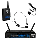 Nady UHF-3 Wireless Headset + Lapel/Lavaliere Microphone System with True Diversity – 2 Microphone Bundle (HM-3 + LM-14) Use The Microphone Best Suited to Your Application