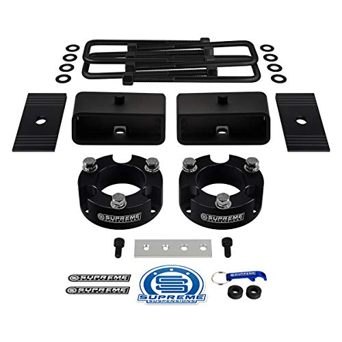 "Supreme Suspensions - Full Lift Kit for 1995-2004 Toyota Tacoma 3"" Front Lift Spacers + 2"" Rear Lift Tapered Blocks + Square Bend U-Bolts + Brake Line Relocator Bracket + Axle Shims 2WD 4WD (Black)"