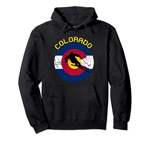 Colorado Flag Skiing Shirt Ski Vacation Skier Gift Pullover Hoodie