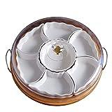 Bandeja de cerámica para servir, bandeja para servir dividida con 7 platos extraíbles, bandeja giratoria para frutas con tapas y bandeja, para patatas fritas y salsa, verduras, dulces y aperitivos
