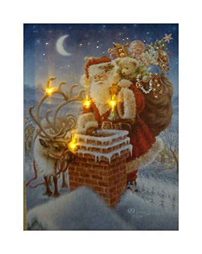 UK-Gardens Santa auf dem Dach Festliche Weihnachten Bild mit LED-Leuchten Batterie betrieben Timer Fibre Optic Canvas Print 40x30cm