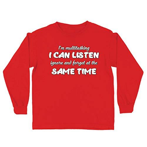lepni.me Camiseta para Niño/Niña Soy multitarea,Regalo sarcástico, Cita Graciosa (5-6 Years Rojo Multicolor)