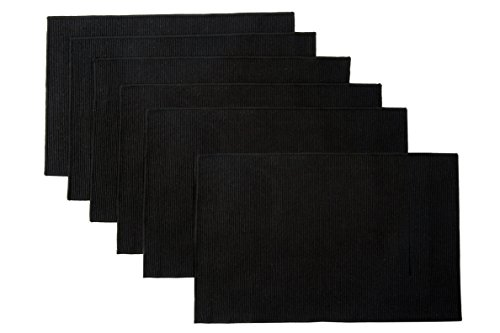"""WOOD MEETS COLOR Cotton Table Placemats Woven Braided Ribbed Washable Kitchen Table Mats Set of 6, 12"""" x 18"""" (Solid Black 2)"""