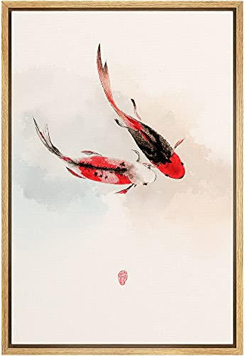 NWT Framed Canvas Print Wall Art Asian Style Watercolor Koi Fish in Water Amphibians Ocean Illustrations Modern Art Rustic Scenic Colorful Pastel for Living Room, Bedroom, Office - 16