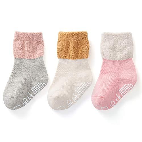 LUO Calcetines Calcetines para niños pequeños para niños pequeños, Calcetines caseros Antideslizantes, 3 Pares, Calcetines de Piso de algodón de Tubo Medio para niños, 0-5 años de Edad