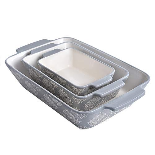 Baking Dish Ceramic Casserole Dish 9x13 Baking Pan 3pcs Bakeware Sets Rectangular Lasagna Pan Nonstick Baking Pans Set Baking Dishes for oven