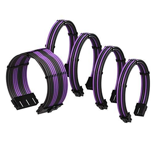 LINKUP - Extensión de Cable de PSU Súper Suave y Flexible con Funda Personalizada Mod GPU PC Trenzado con Kit de Alineadores┃1x 24P (20+4) MB┃2x 8P (4+4) CPU┃2x 8P (6+2) GPU┃30CM 300MM - Púrpura Negro