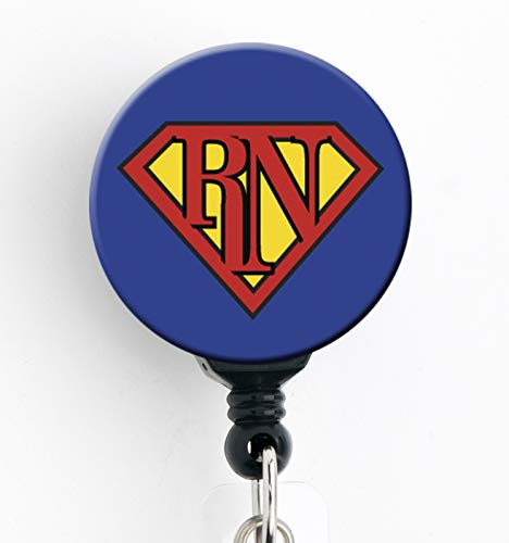 Super RN - Retractable Badge Reel with Swivel Clip and Extra-Long 34 inch Cord - Badge Holder/Nurse Badge/Cute Badge/Hospital Badge