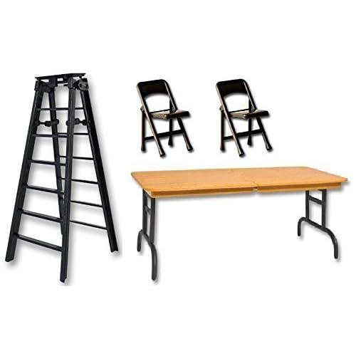 "Wrestling Figure Accessories WWE Black Table 2 Black Chairs 6/"" Black Ladder"