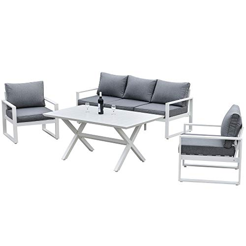 Outsunny 4-Piece Garden Furniture Set Outdoor Patio Dining Table with Cushioned Seat Chairs 5-Seater All-Weather Aluminum Frame