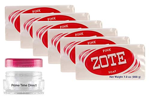 Zote Laundry Soap Bar - Stain Remover - Catfish Bait -7 Oz (200g) Each (Pack of 6) Bundled with PrimeTime Direct Travel Jar in PTD Sealed Bag