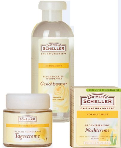 Apotheker Scheller Naturkosmetik Spezial Set, Normale Haut: Gesichtswasser Rose, Tagescreme Quitte...