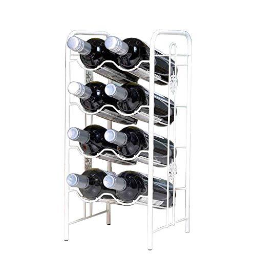 Yaunli - Botellero de almacenamiento para bar, sótano, bodega, cocina, comedor, botellero de pie, metal, Blanco, 22x23x48cm