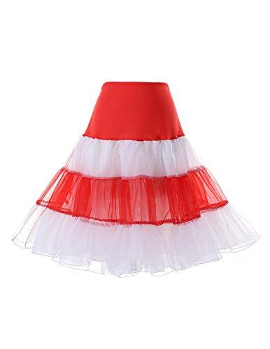 DRESSTELLS 1950 Petticoat Reifrock Unterrock Petticoat Underskirt Crinoline für Rockabilly Kleid Red-White S