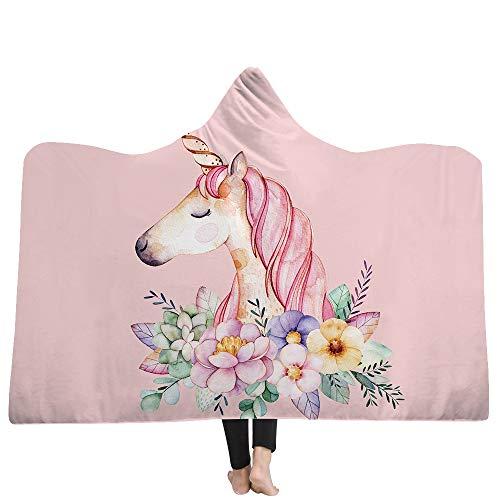 FimGGe Unicornio de Dibujos Animados Serie Fleece Manta Cálido sofá Cama Manta con Capucha Rosa para niños Bebé Cubrecama de Viaje Manta de viaje-150 cm * 200 cm