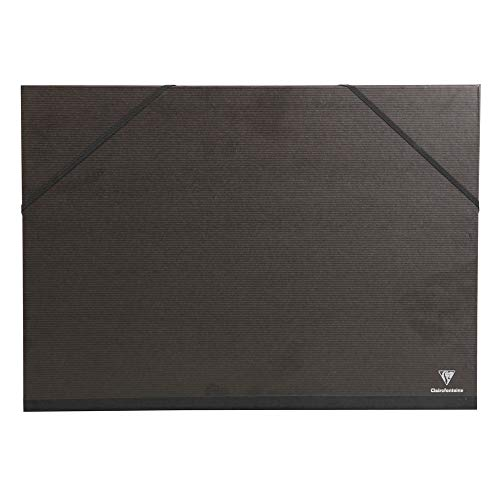 Clairefontaine 48615C Zeichenmappe Kraft Verge mit Gummizug und innenklappen rücken 30 mm, Din A2, innen: 42 x 59.4 cm, außen: 47 x 62 cm, schwarz
