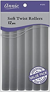 Annie Soft Twist Rollers, Gray, 7 Inch, 12 Count