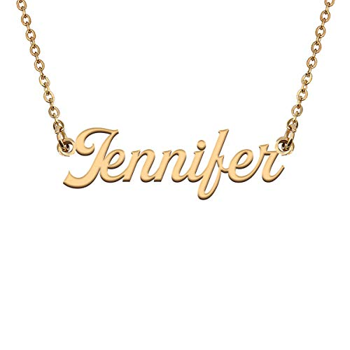HUAN XUN Custom Name Necklace Pendant Jewelry Gifts in Gold Silver for My Girls Jennifer