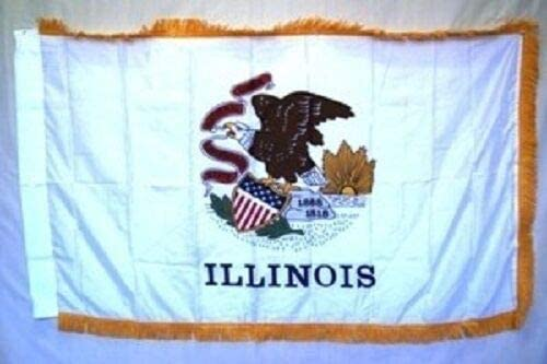 JumpingLight 3x5 Selling Illinois State Poly Manufacturer regenerated product Nylon Gold Frin with Sleeve
