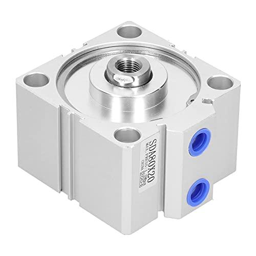 Agatige Cilindro de Aire neumático de Orificio Sda80x20, Equipo de Hardware Acolchado con cojinete Deslizante guiado de Varilla de Aluminio de acción Simple Delgada