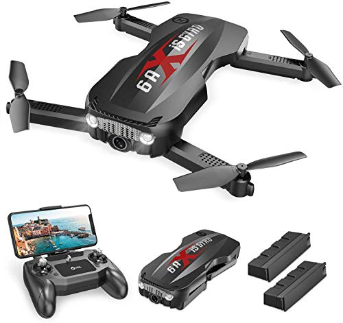 Holy Stone HS160 Pro Foldable Drone with 1080p HD WiFi Camera for Adults and Kids, Wide Angle FPV Live Video, App Control, Gesture Selfie, Tap Fly, Optical Flow, Altitude Hold and 2 Batteries