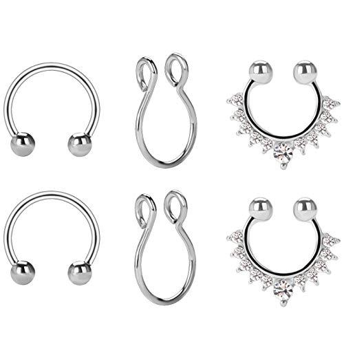 BODYA Fake Septum Rings, 6Pcs Septum Piercings Jewelry Stainless Steel Fake Nose Ring Gift for Women