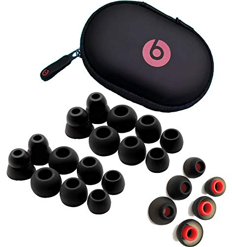 22 pcs. Beats Powerbeats 2 and Powerbeats 3 Replacement Earbuds Eargels Eartips Cushions Black, Black/RED 6S/6M/6L/4Cones and 1 Protective Carrying Hard Case by General