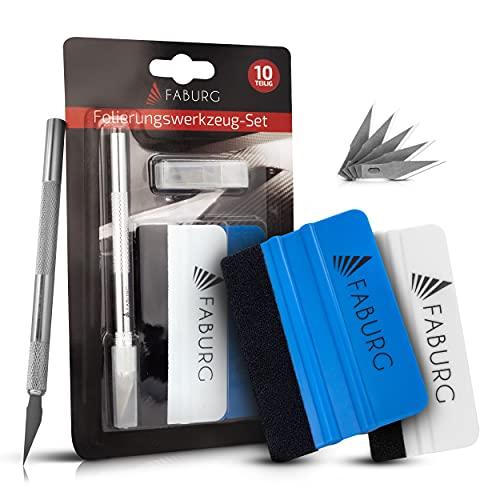 FABURG® Premium Folierungswerkzeug – 10-teiliges Komplett-Werkzeug Set – [2X] Rakel mit Vlieskante für schonendes Folieren – Extreme Präzision – Inklusive ultrascharfem PräzisionsCutter (10)