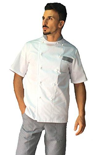 tessile astorino Giacca Cuoco Basic Bianca con Profili Pied de Poule Manica Corta, Made in Italy