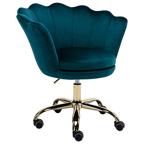 CIMOTA Desk Chair Velvet Task Chair Home Office Chair Adjustable Swivel Rolling Vanity Chair with Wheels for Adults Teens Bedroom Study Room, Teal Blue
