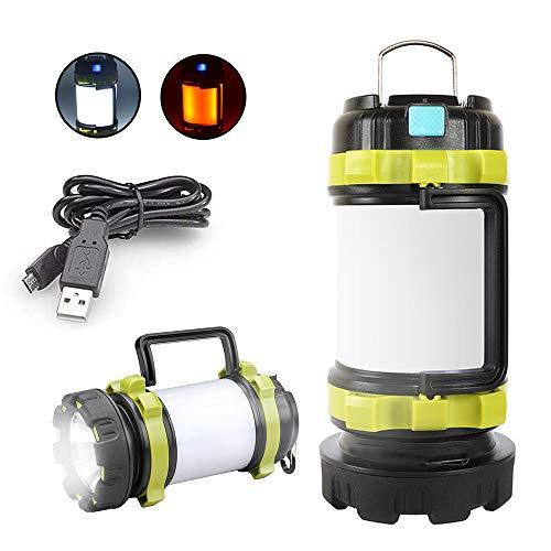 Aromu Campinglampe LED Handscheinwerfer, USB Wiederaufladbare Camping Laterne Dimmbare Taschenlampe mit Warnlicht Wasserdicht 3000mAh Power Bank für Camping,Abenteuer,Wandern,Angeln,Notfall